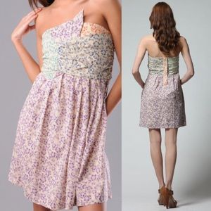 See by Chloe Hibiscus Floral Print Strapless Dress